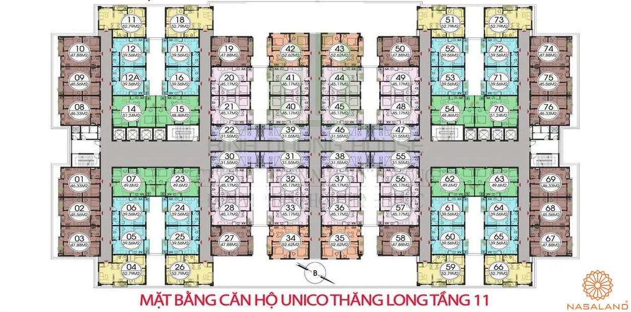 Mặt bằng dự án căn hộ Unico Thăng Long - tầng 11