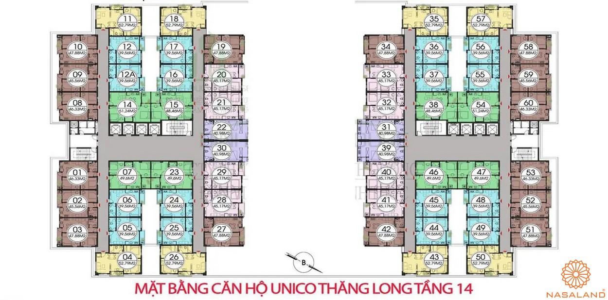 Mặt bằng dự án căn hộ Unico Thăng Long - tầng 14