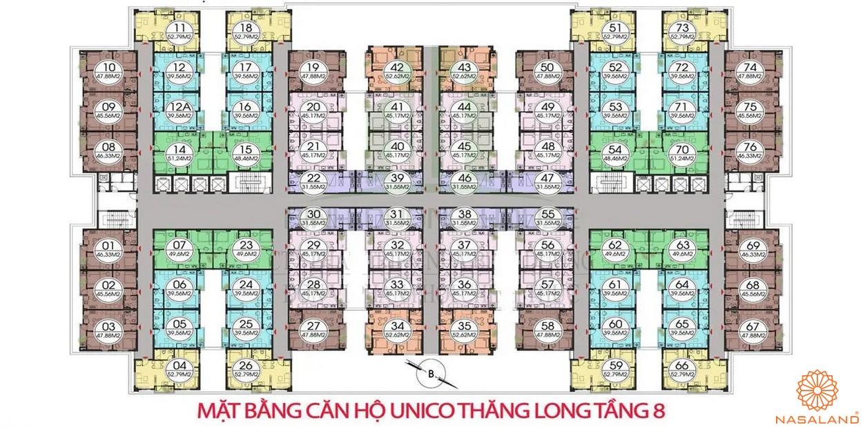 Mặt bằng dự án căn hộ Unico Thăng Long - tầng 8