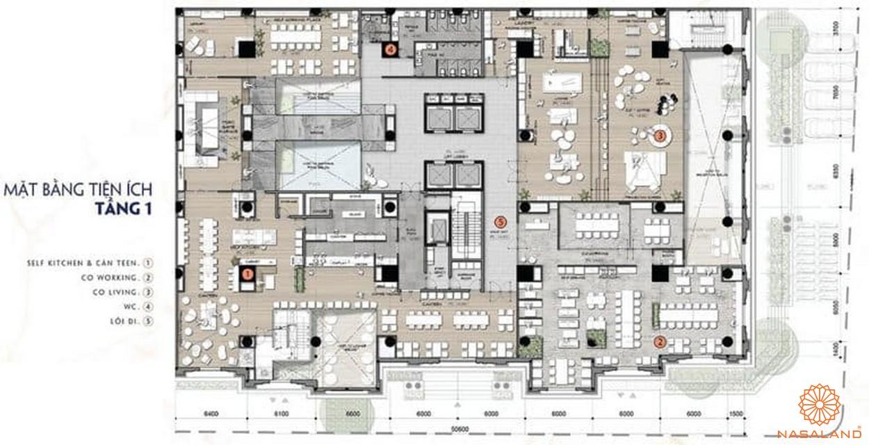 Mặt bằng tầng 1 dự án căn hộ 9x Golden Stella Bình Tân