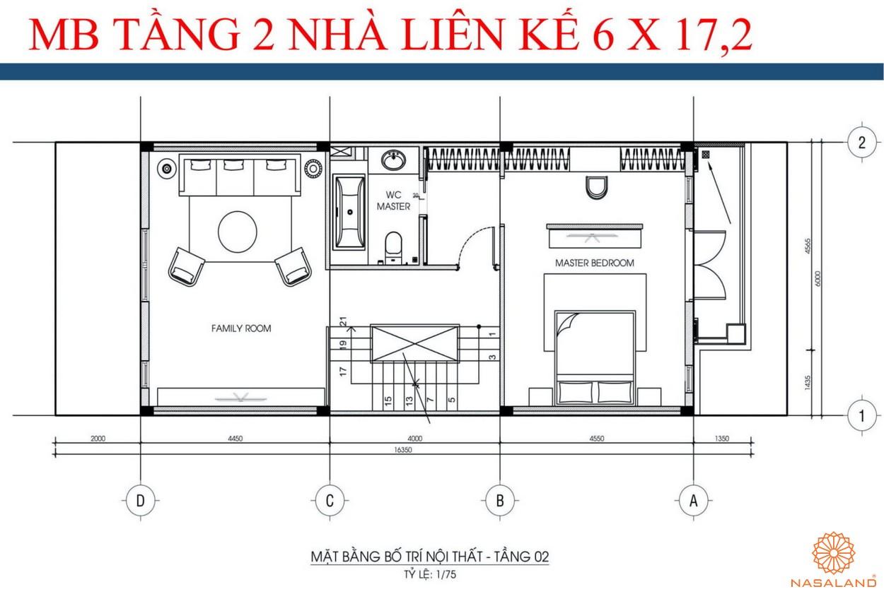Mặt bằng tầng 2 nhà liền kề dự án kdt La Vida Residences