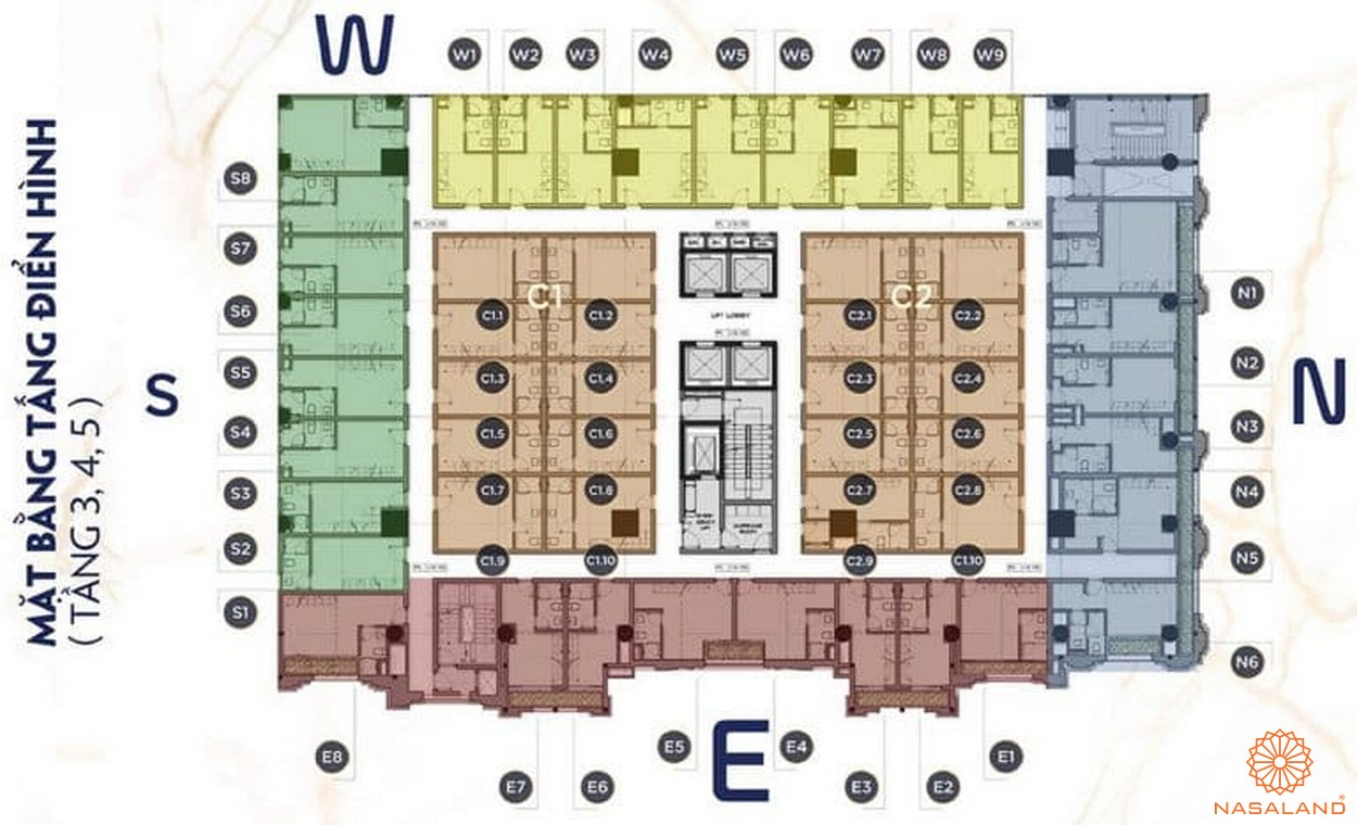Mặt bằng tầng 3-4-5dự án căn hộ 9x Golden Stella Bình Tân