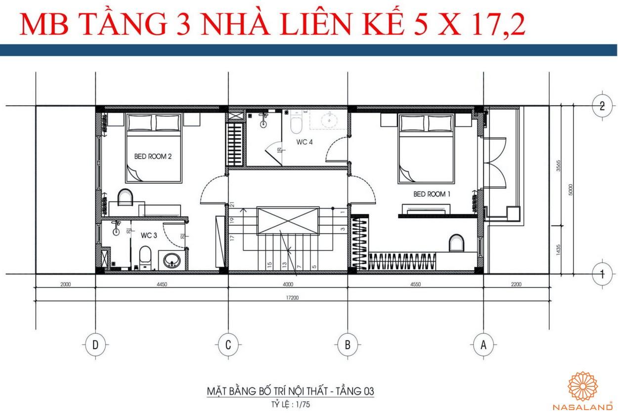 Mặt bằng tầng 3 nhà liền kề dự án kdt La Vida Residences