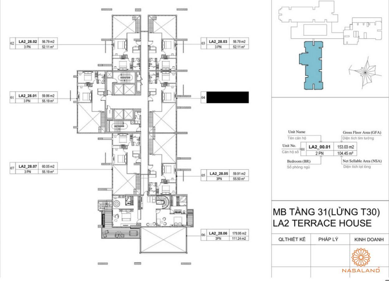 Mặt bằng dự án căn hộ La Astoria quận 2 - tầng 31