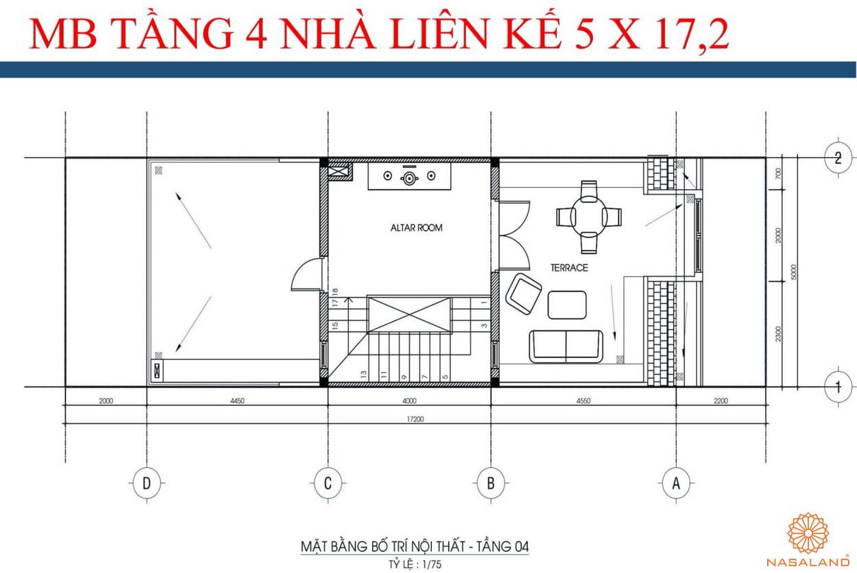 Mặt bằng tầng 4 nhà liền kề dự án kdt La Vida Residences