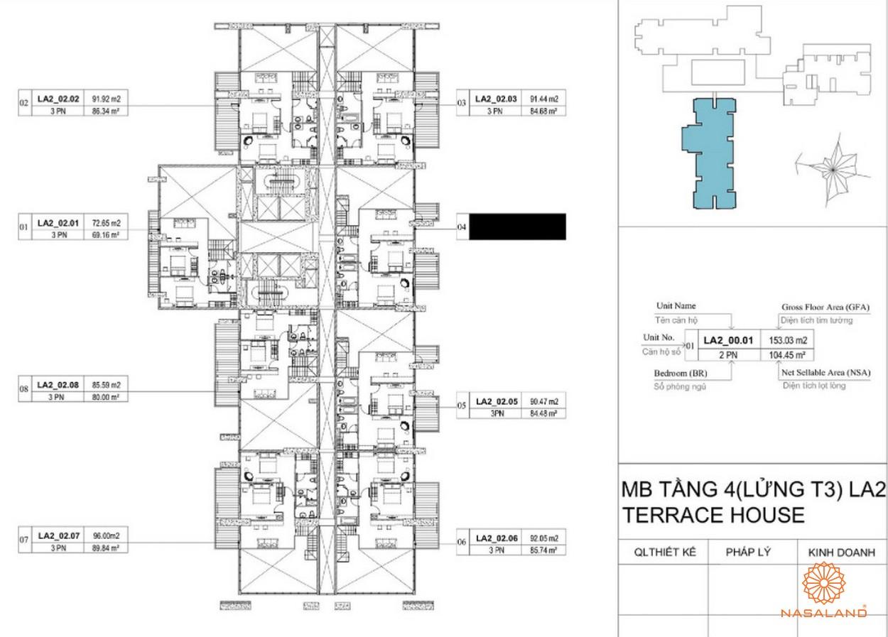Mặt bằng dự án căn hộ La Astoria quận 2 - tầng 4