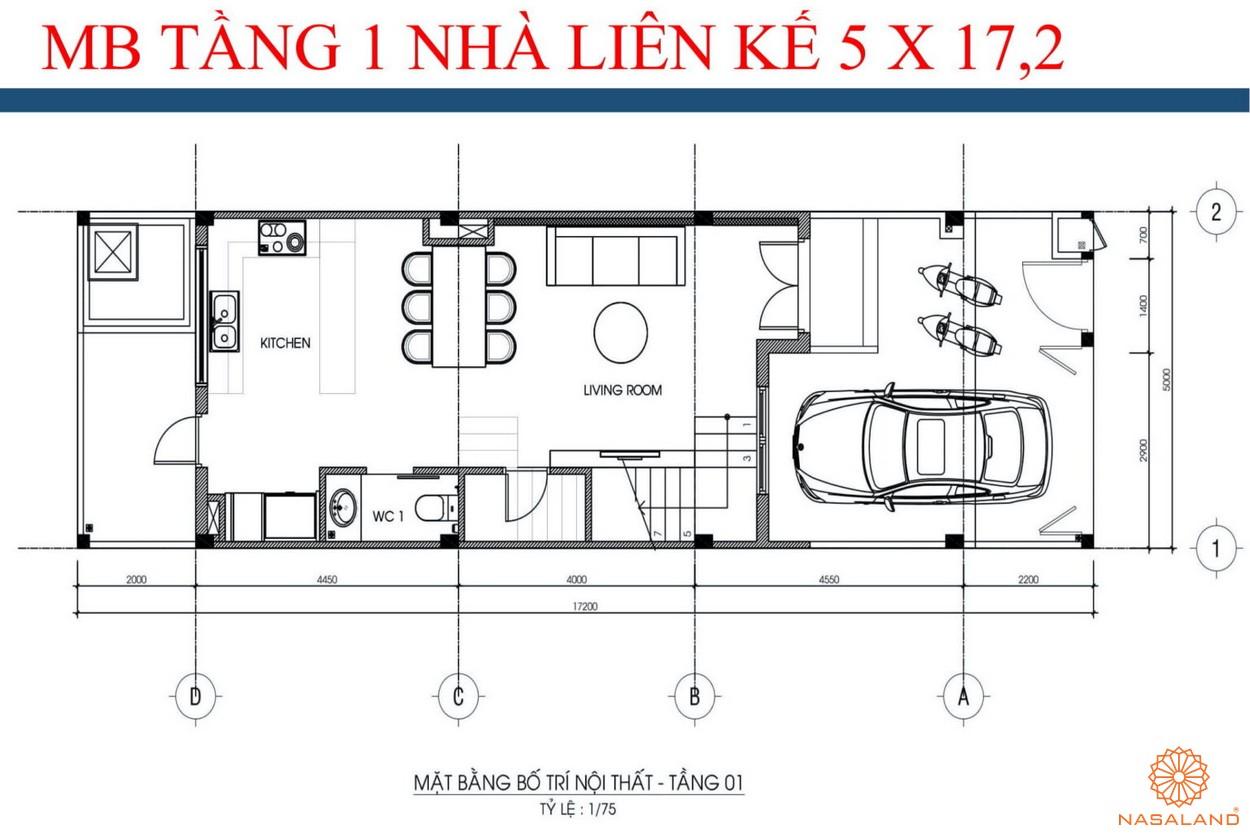 Mặt bằng tầng 1 nhà liền kề dự án kdt La Vida Residences