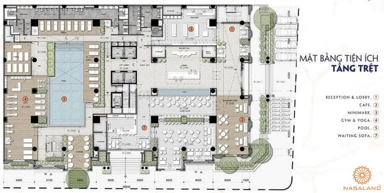 Mặt bằng tầng trệt dự án căn hộ 9x Golden Stella Bình Tân