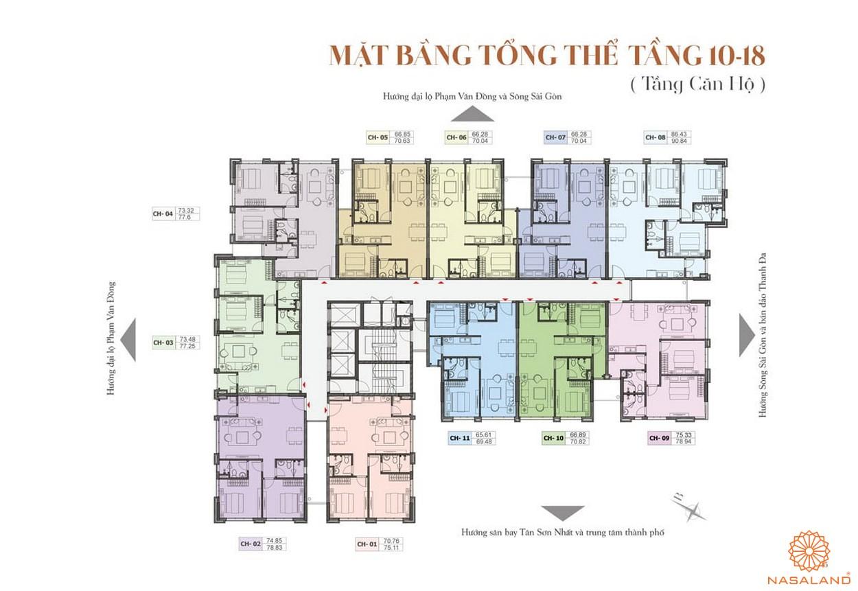 Mặt bằng tổng thể tầng 10 - 18 dự án căn hộ ST Moritz Thủ Đức