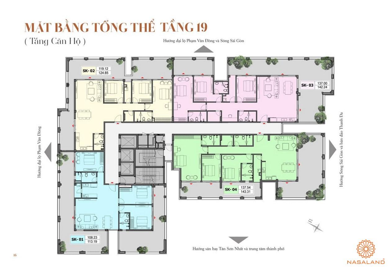 Mặt bằng tổng thể tầng 19 dự án căn hộ ST Moritz Thủ Đức