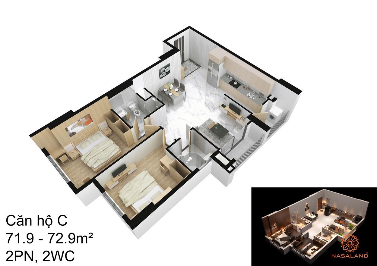 Thiết kế căn hộ C tại dự án An Sương I-Park quận 12