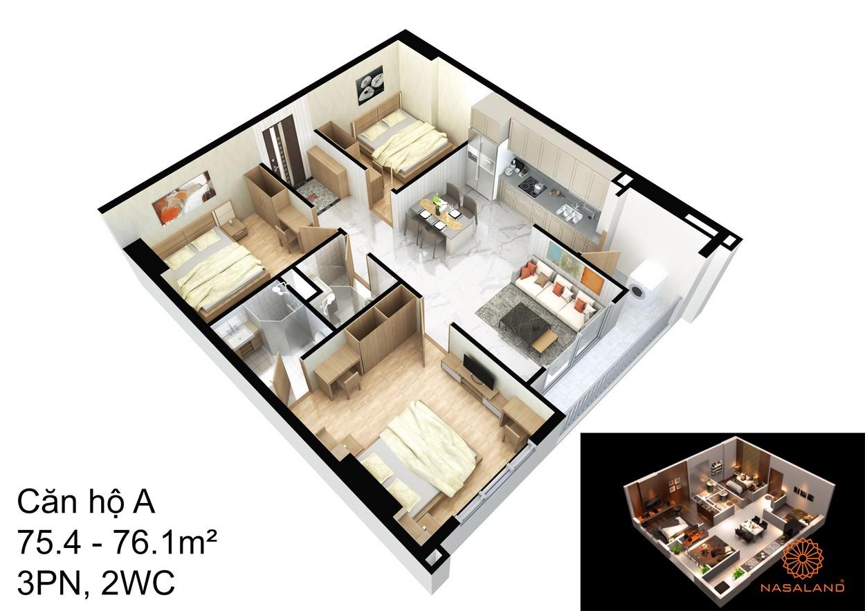Thiết kế căn hộ A tại dự án An Sương I-Park quận 12