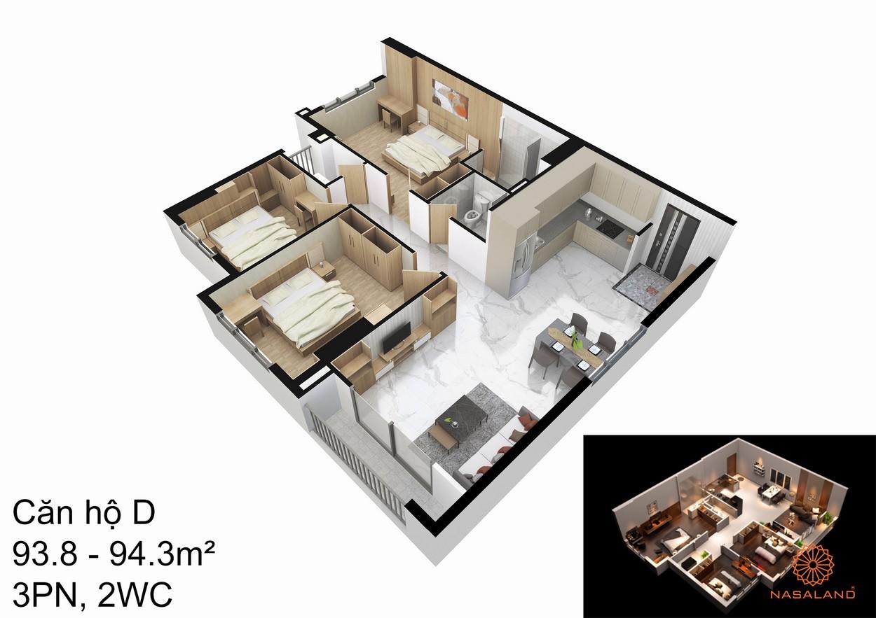 Thiết kế căn hộ D tại dự án An Sương I-Park quận 12
