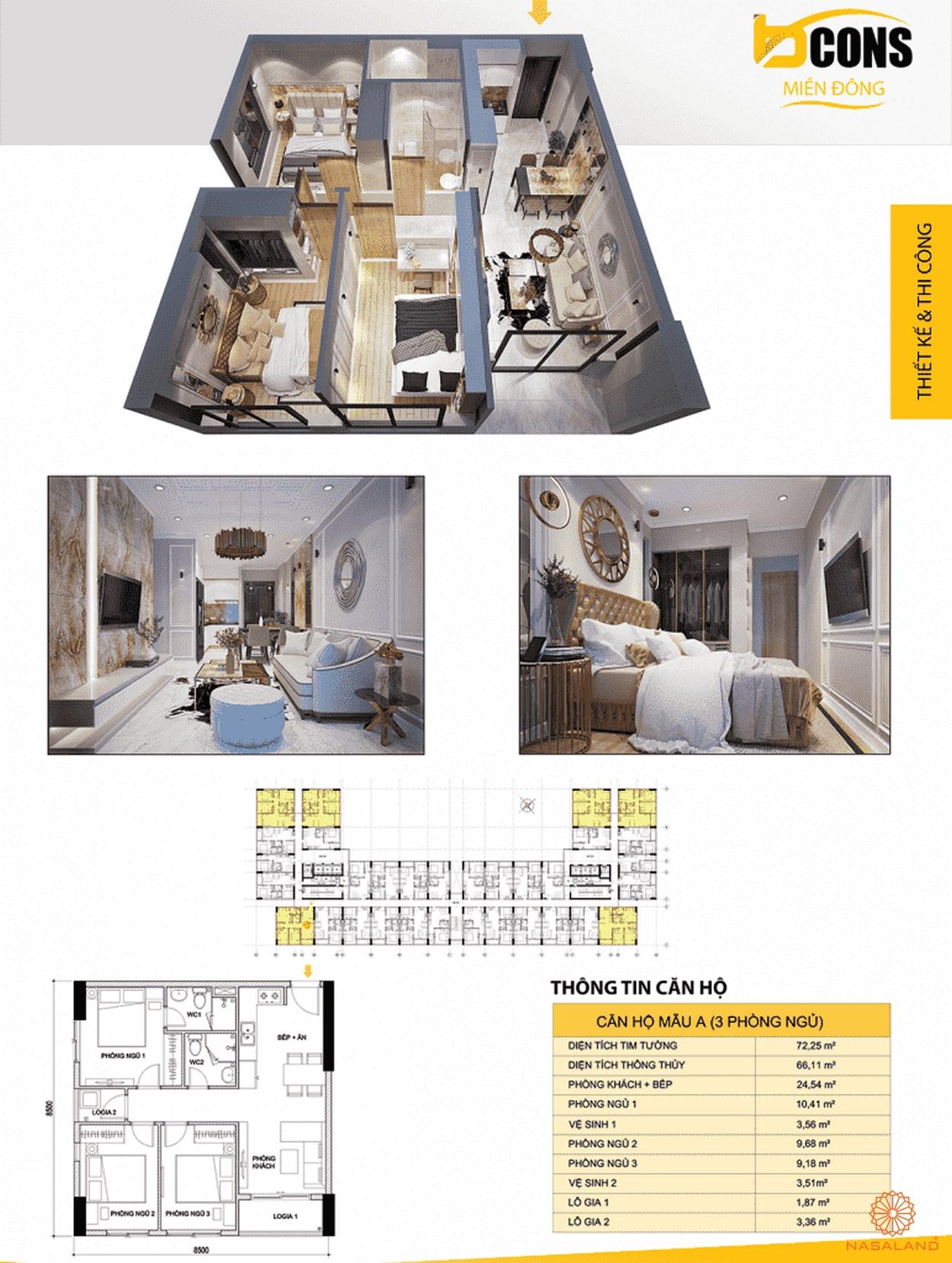 Thiết kế căn hộ Bcons Miền Đông Bình Dương