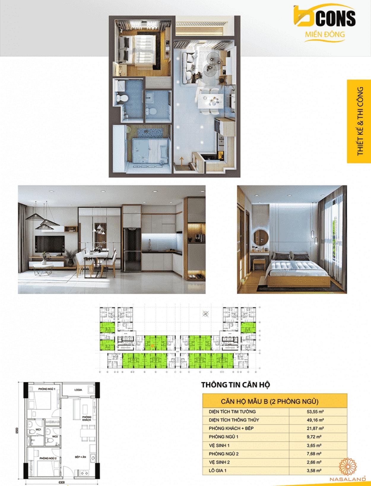Thiết kế căn hộ phòng ngủ tại căn hộ Bcons Miền Đông Bình Dương