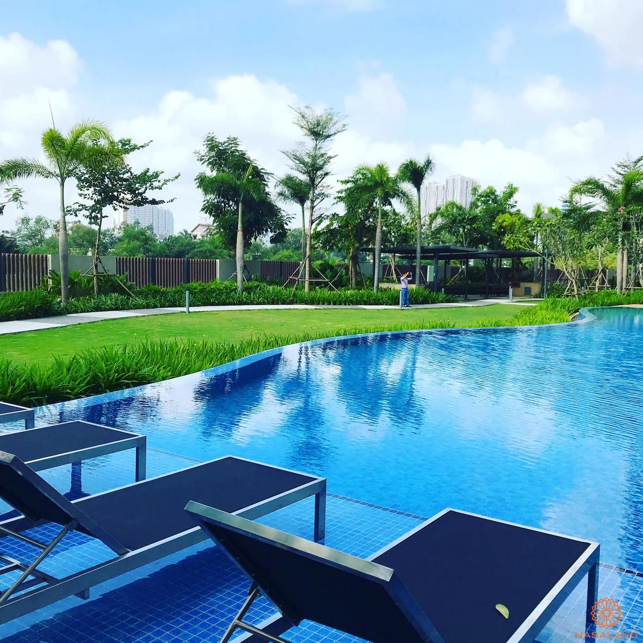 Tiến độ xây dựng dự án Palm City - hồ bơi tràn bờ