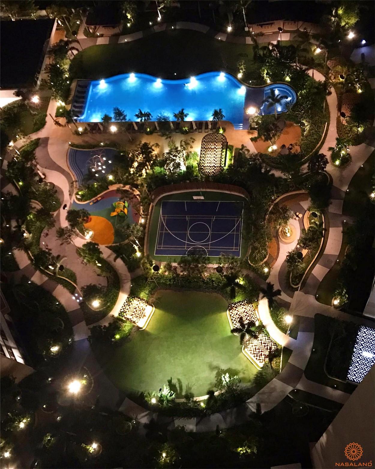 Tiến độ xây dựng dự án Palm City - tổng thể không gian nội khu về đêm