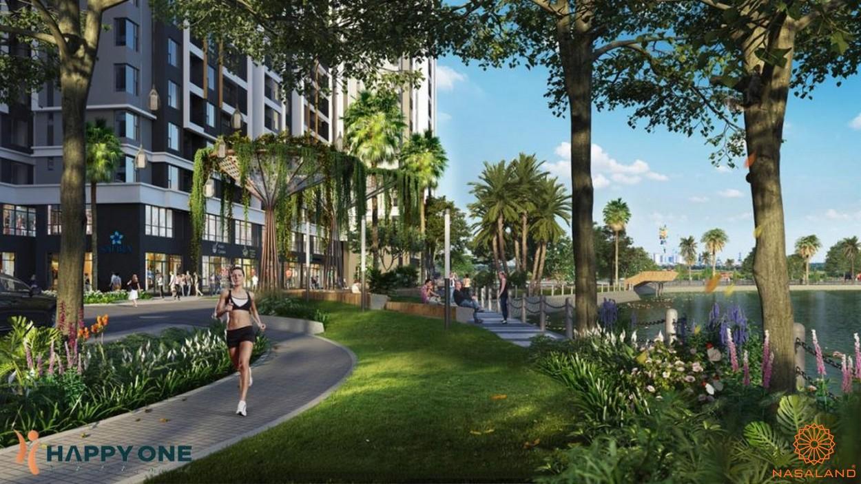 Tiện ích dự án căn hộ Happy One Central Bình Dương - đường chạy bộ