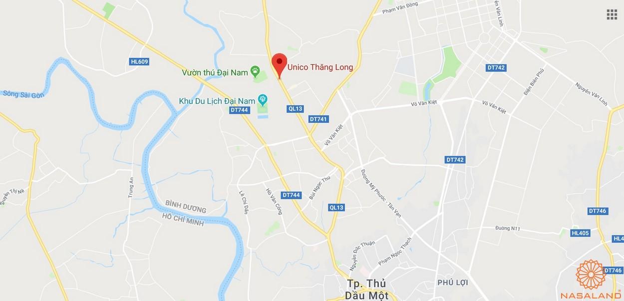 Vị trí dự án căn hộ Unico Thăng Long