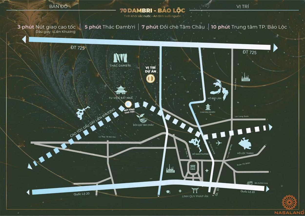 Vị trí dự án đất vườn 70 Damb'ri Bảo Lộc Lâm Đồng