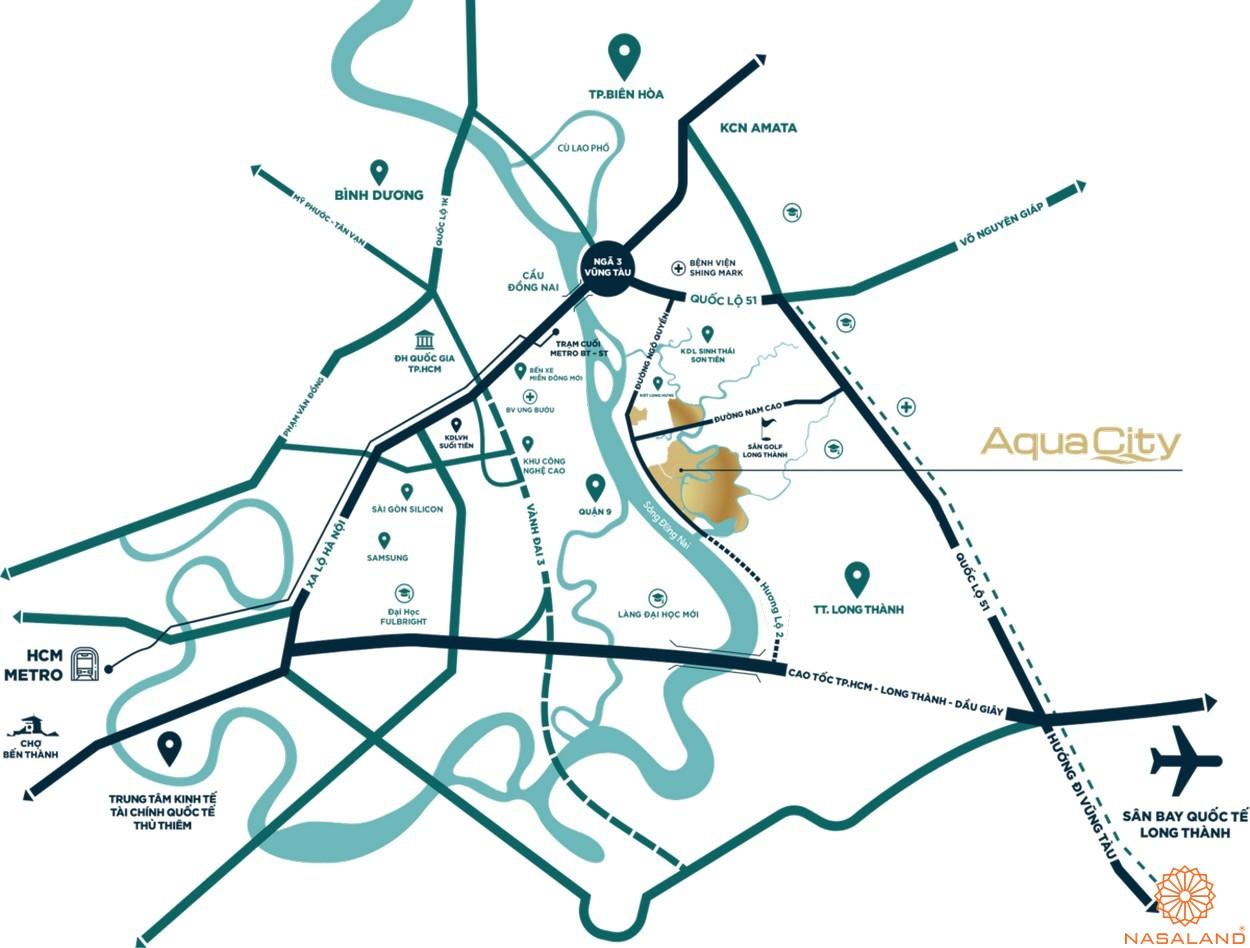 Vị trí dự án biệt thự Aqua City Đảo Phượng Hoàng Đồng Nai
