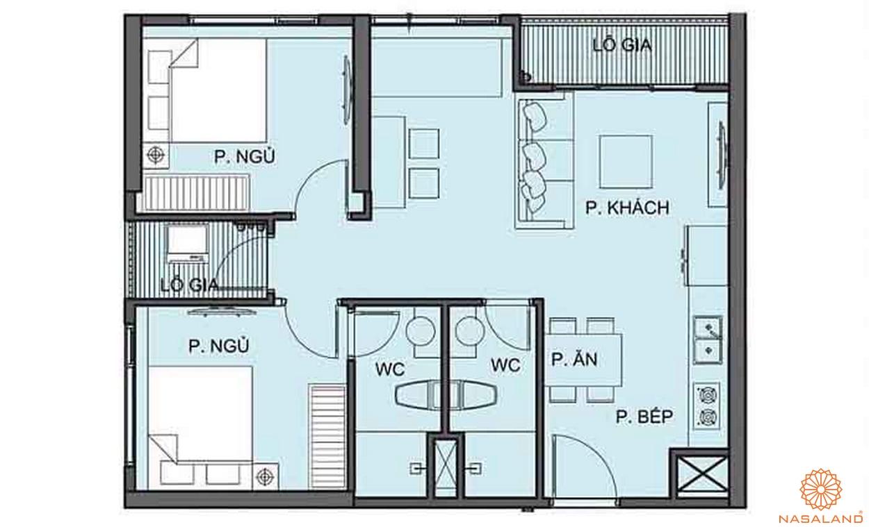 Mặt bằng chi tiết căn hộ 2PN tại tòa S6.01 phân khu The Origami S6
