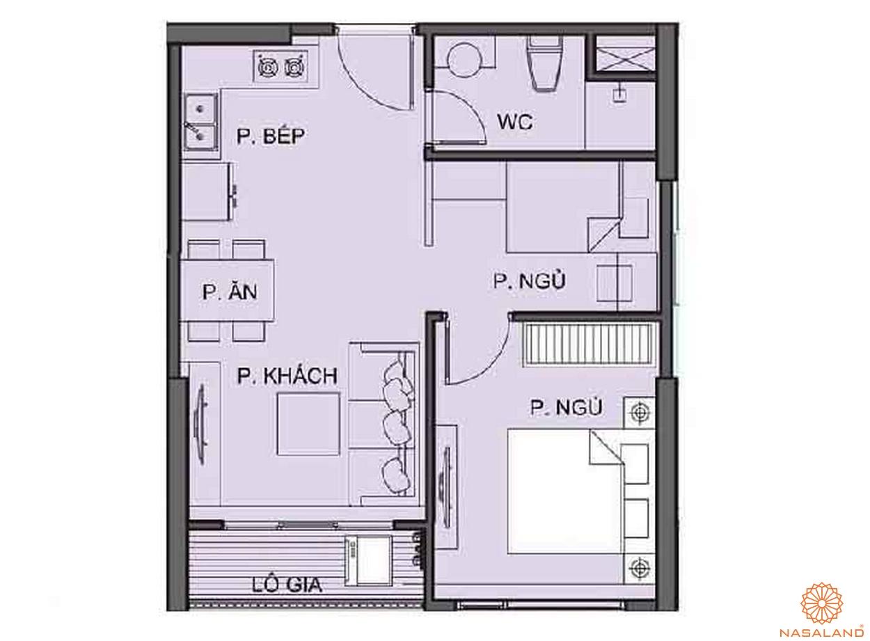Mặt bằng chi tiết căn hộ 1PN tại tòa S6.01 phân khu The Origami S6