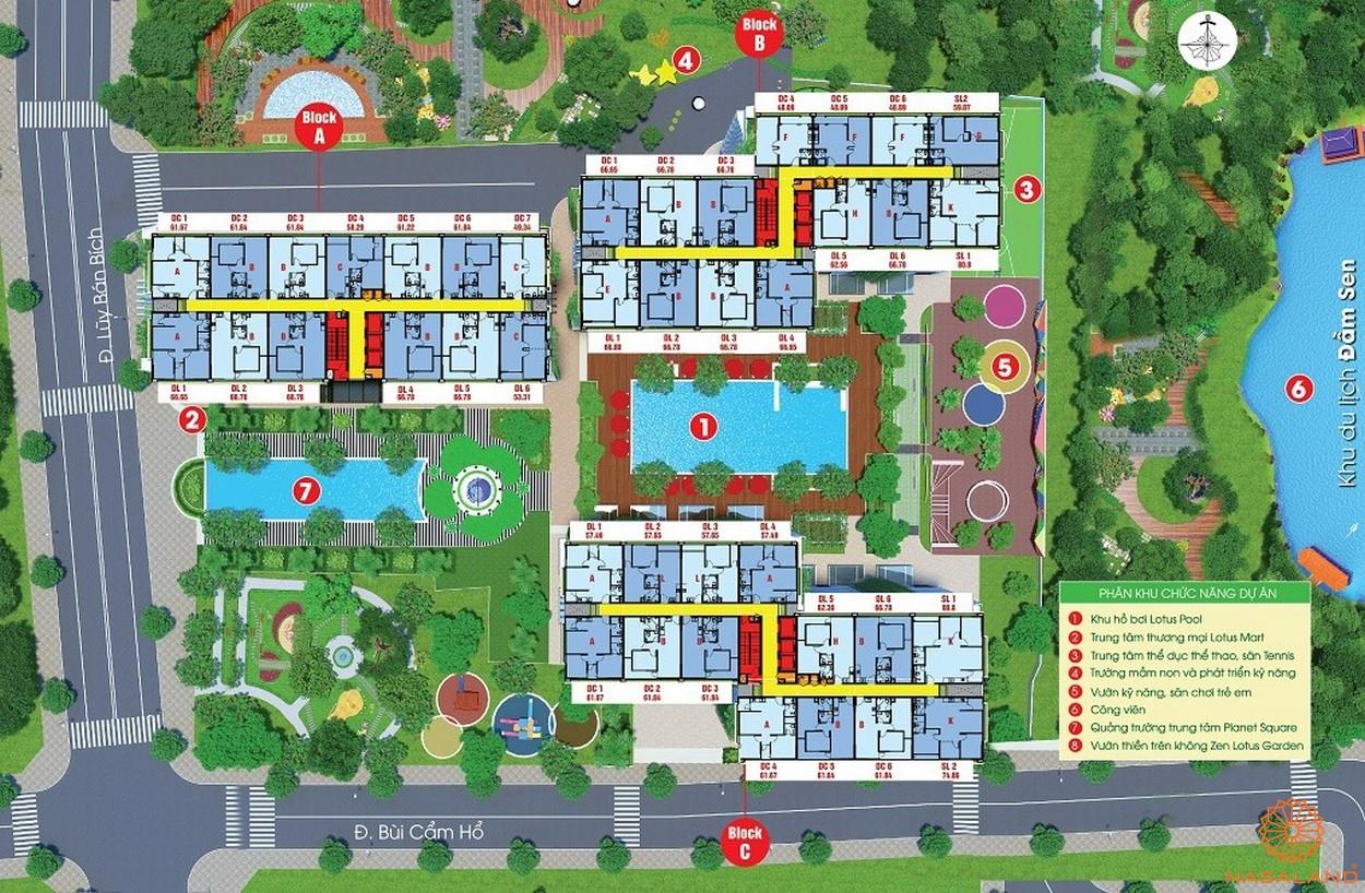 Mặt bằng dự án chung cư Diamond Lotus Lake View Tân Phú - Tổng thể
