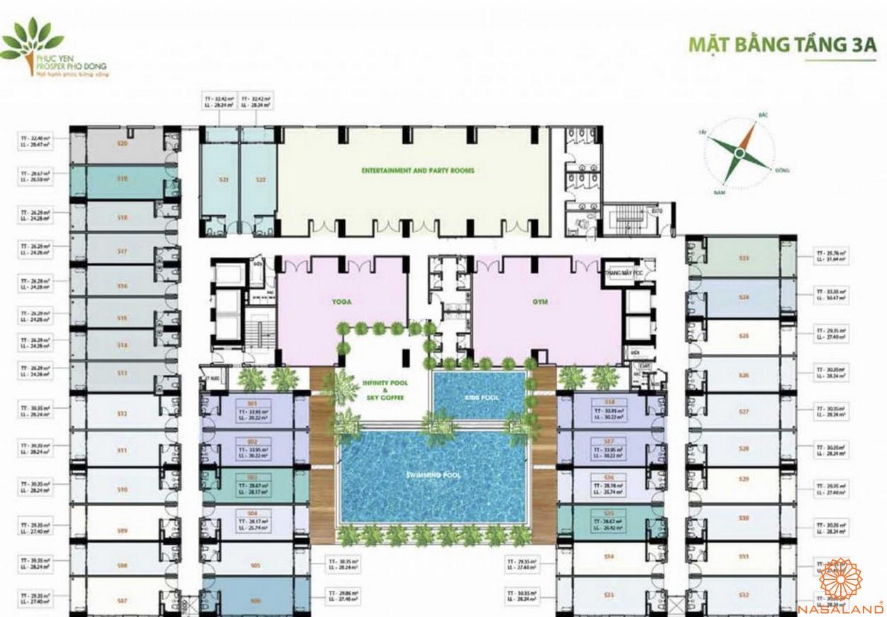 Mặt bằng dự án căn hộ Phúc Yên Prosper Phố Đông Thủ Đức 3A