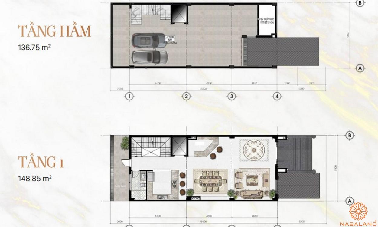 Mặt bằng dự án khu đô thị Vạn Phúc City Thủ Đức - Sunlake Villas tầng hầm, 1