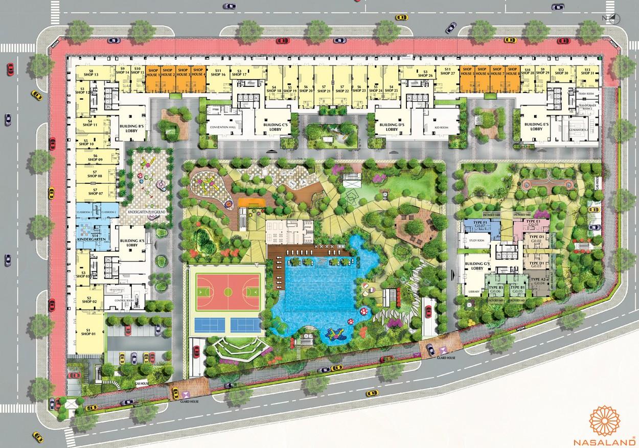 Mặt bằng dự án căn hộ chung cư Saigon South Residence Nhà Bè - tầng trệt