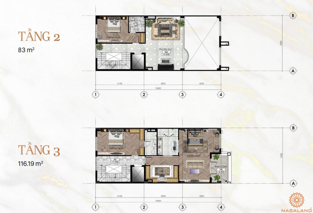 Mặt bằng dự án khu đô thị Vạn Phúc City Thủ Đức - Sunlake Villas tầng 2 3
