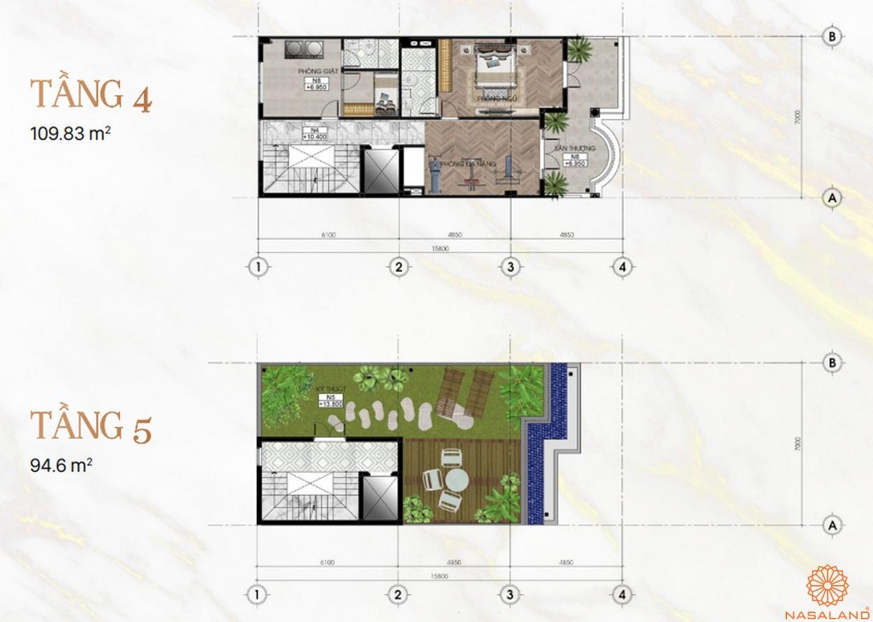 Mặt bằng dự án khu đô thị Vạn Phúc City Thủ Đức - Sunlake Villas tầng 4 5