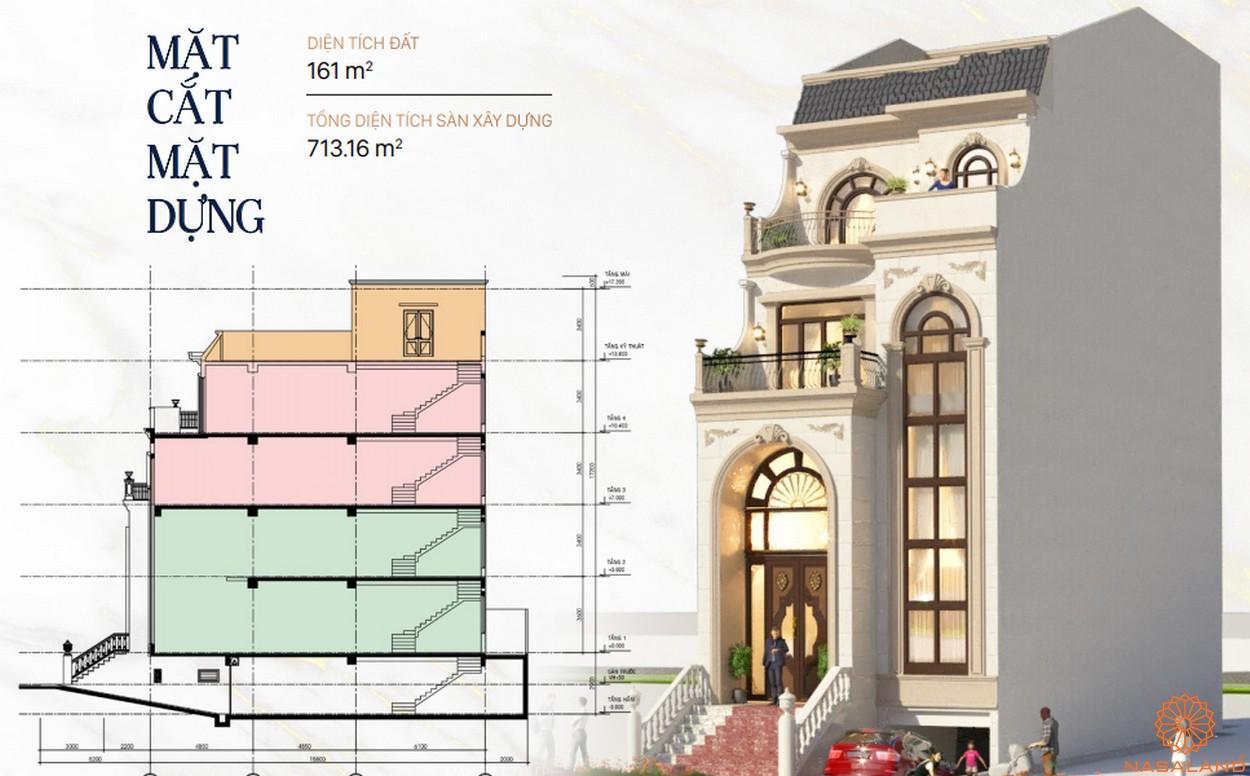 Mặt bằng dự án khu đô thị Vạn Phúc City Thủ Đức - Sunlake Villas cắt dọc