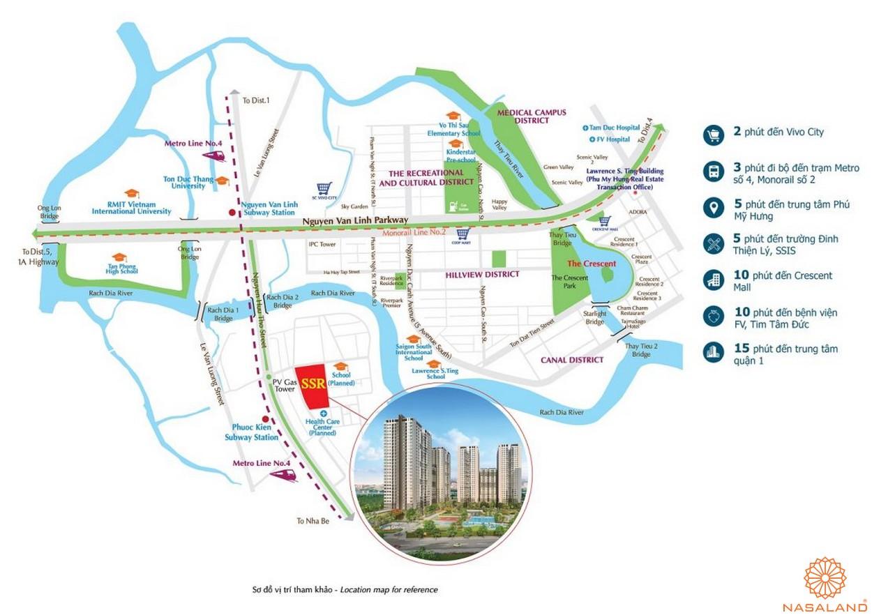 Vị trí dự án căn hộ chung cư Saigon South Residence Nhà Bè