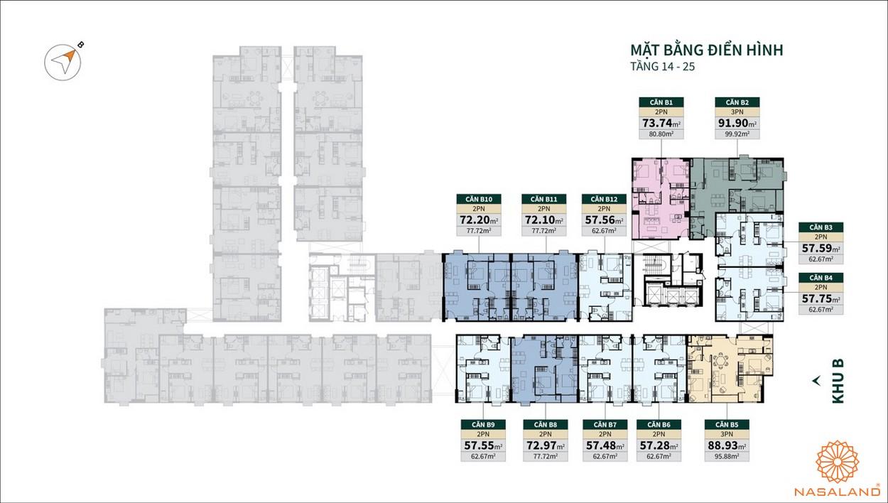 Mặt bằng tầng 14 - 25 dư án La Cosmo Residences