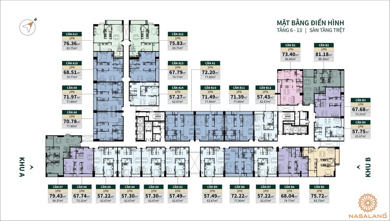 Mặt bằng tầng 6 - 13 dư án La Cosmo Residences