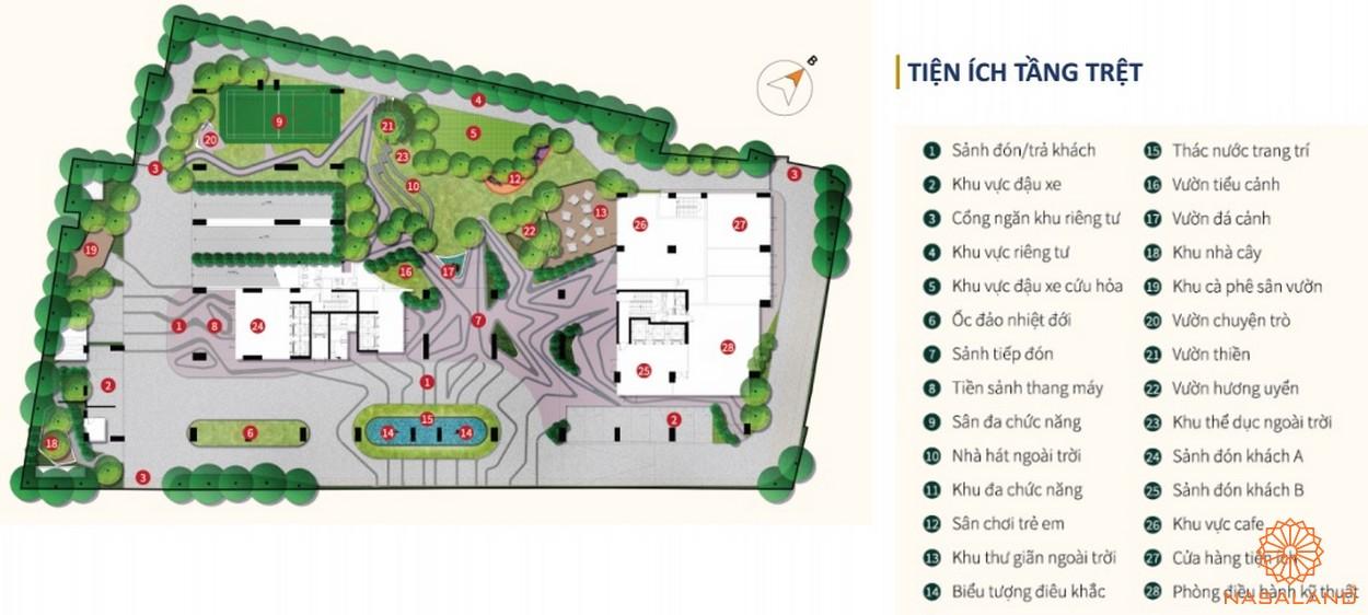 Mặt bằng tiện ích tầng trệt dư án La Cosmo Residences