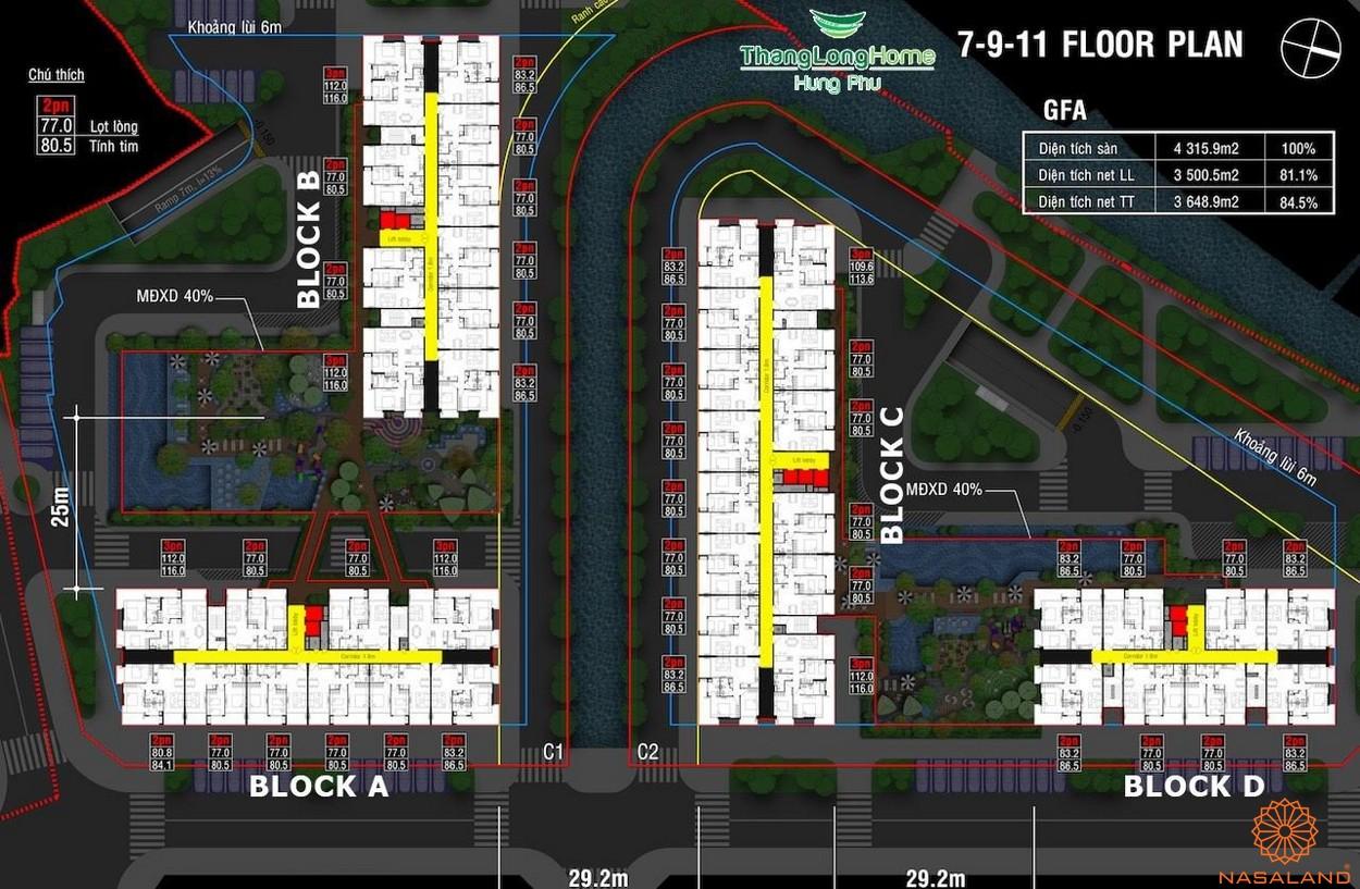 Mặt bằng dự án nhà phố Thăng Long Home Thủ Đức - các block A B C D