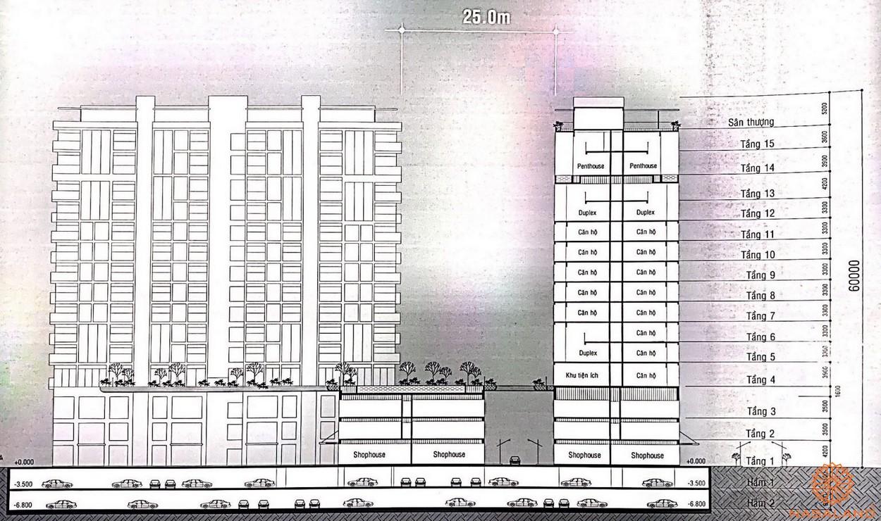Mặt bằng dự án nhà phố Thăng Long Home Thủ Đức - cắt dọc