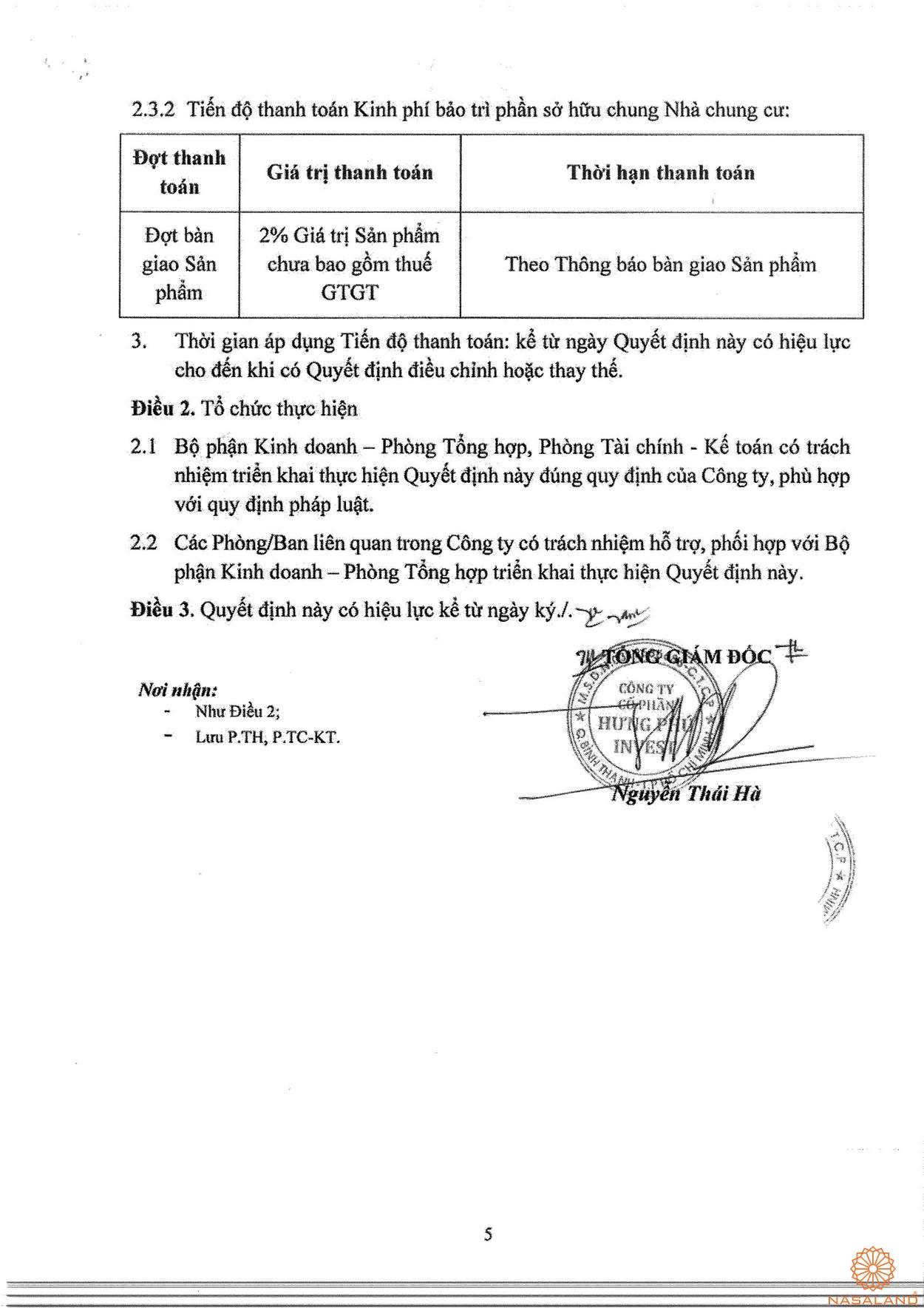 Phương thức thanh toán dự án nhà phố Thăng Long Home Thủ Đức 5
