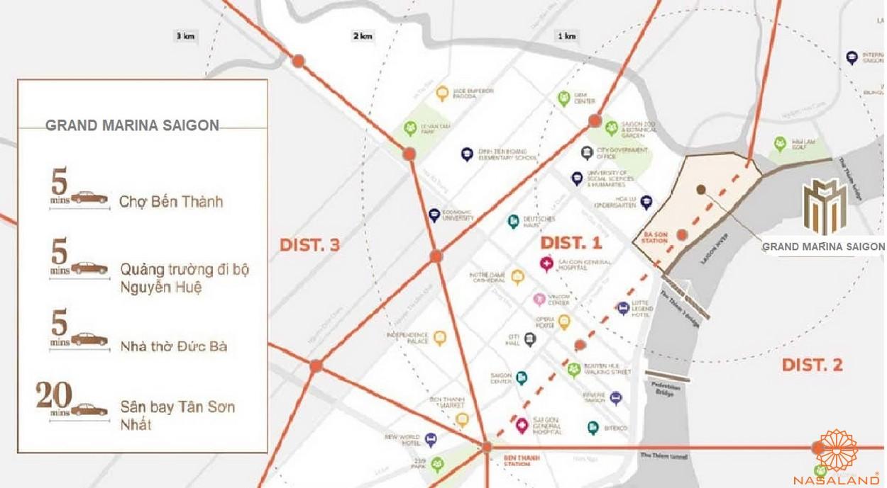 Vị trí dự án căn hộ Grand Marina Saigon quận 1 - liên kết vùng