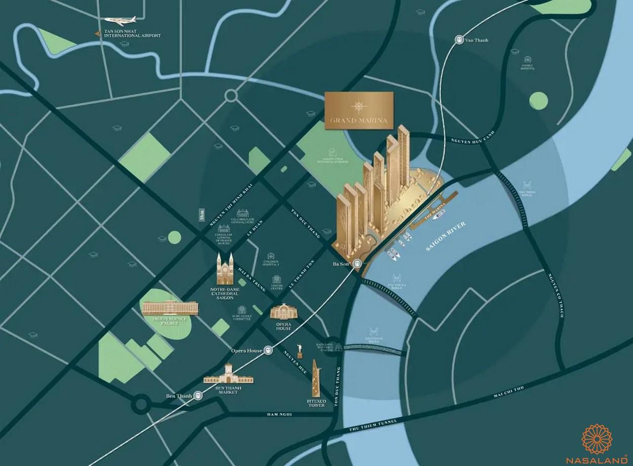 Vị trí dự án căn hộ Grand Marina Saigon quận 1
