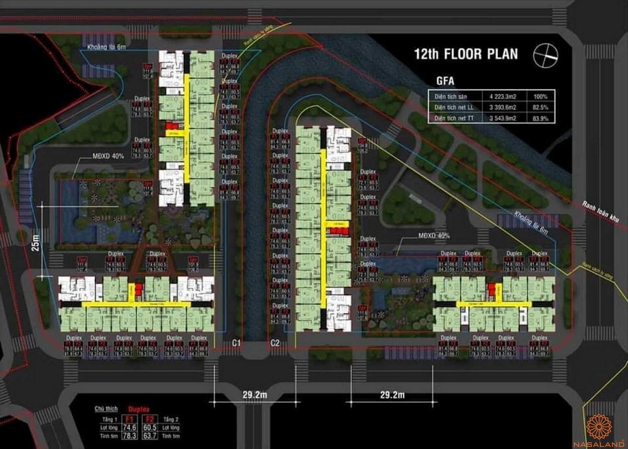 Mặt bằng dự án căn hộ Dragon Sky View Thủ Đức - tầng 12