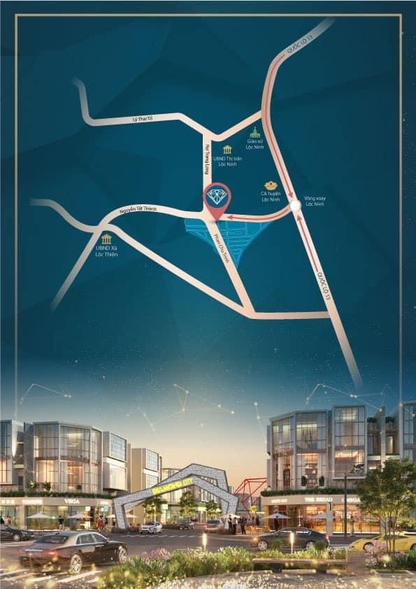 Vị trí dự án đất nền Lộc Ninh Diamond City Bình Phước