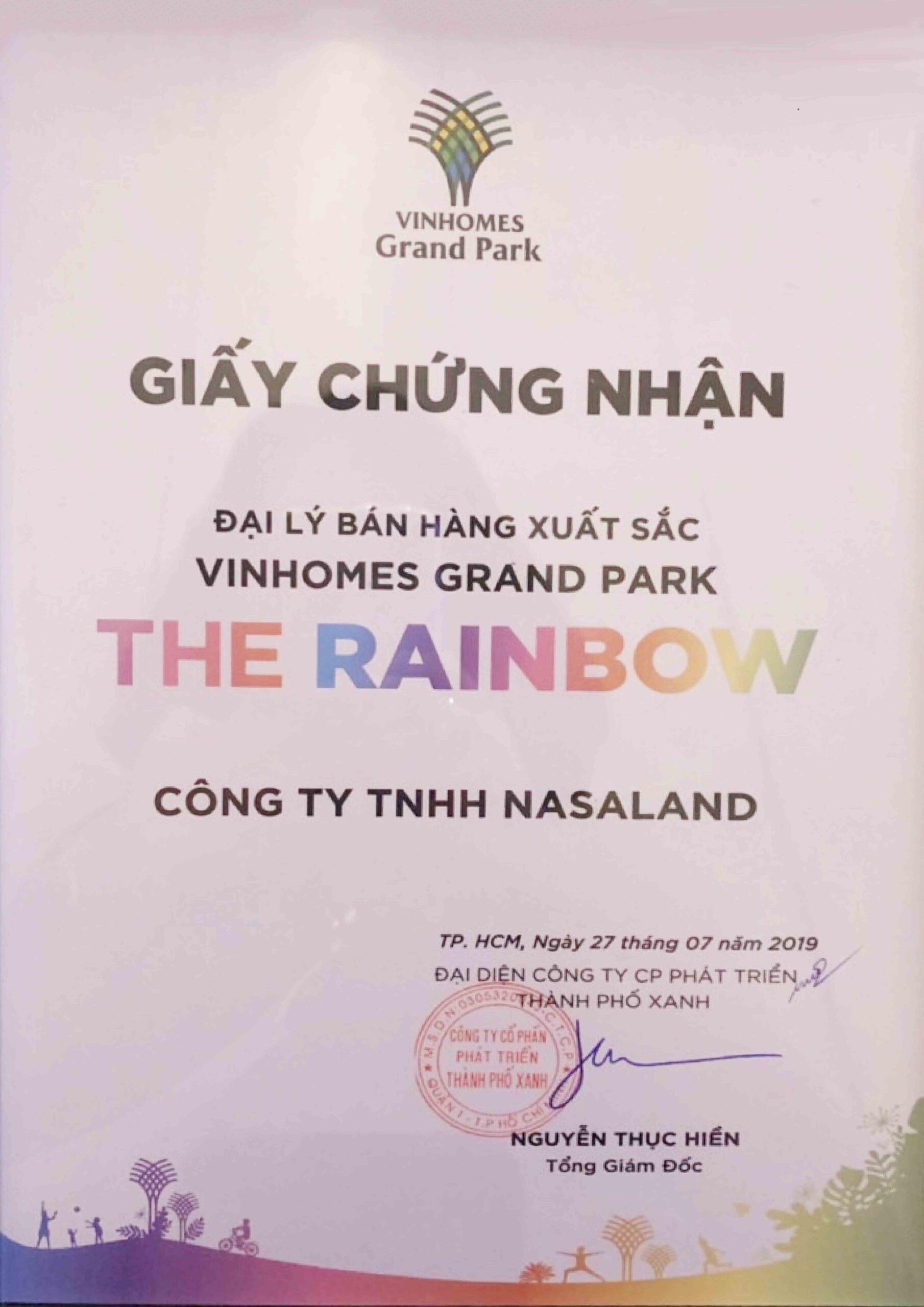 Chứng nhận Đại lý bán hàng xuất sắc The Rainbow- Vinhomes Grand Park