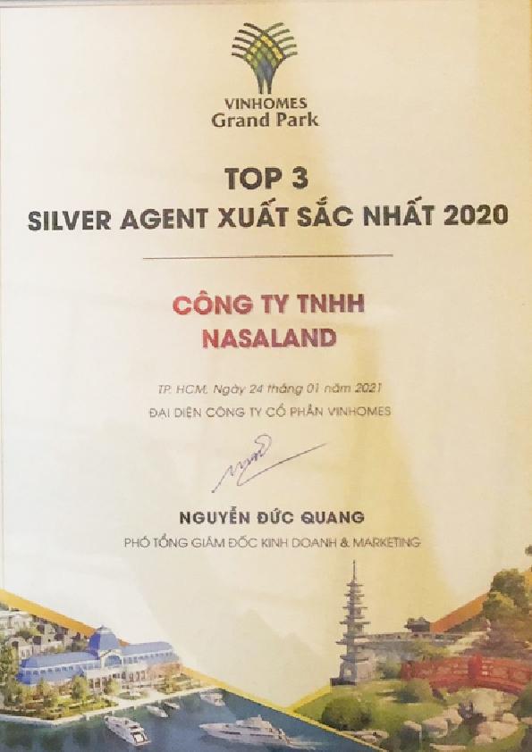 Top 3 Silver Agent xuất sắc nhất 2020- Vinhomes Grand Park