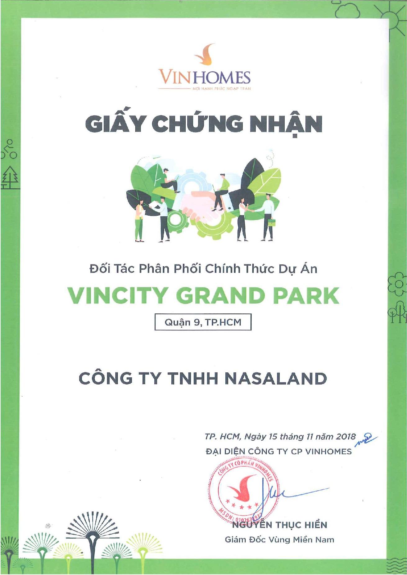 Giấy chứng nhận đối tác phân phối Vinhomes Grand Park