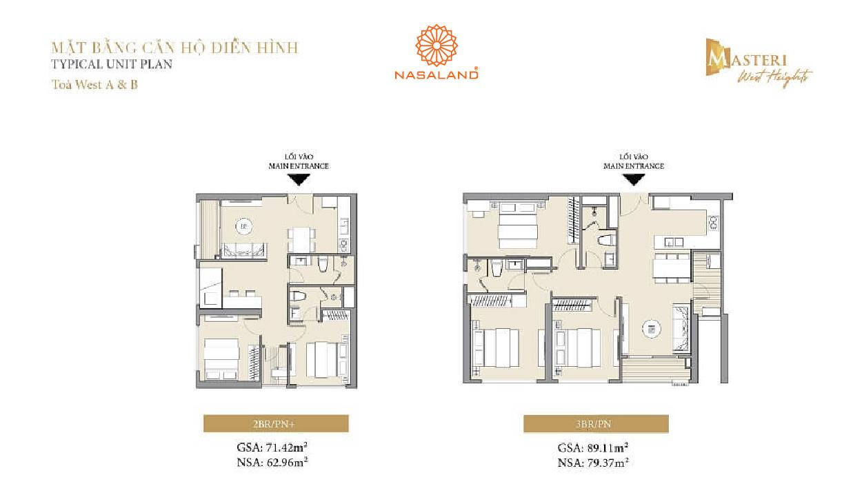 mặt bằng chi tiết căn hộ 2pn 3pn masteri west heights