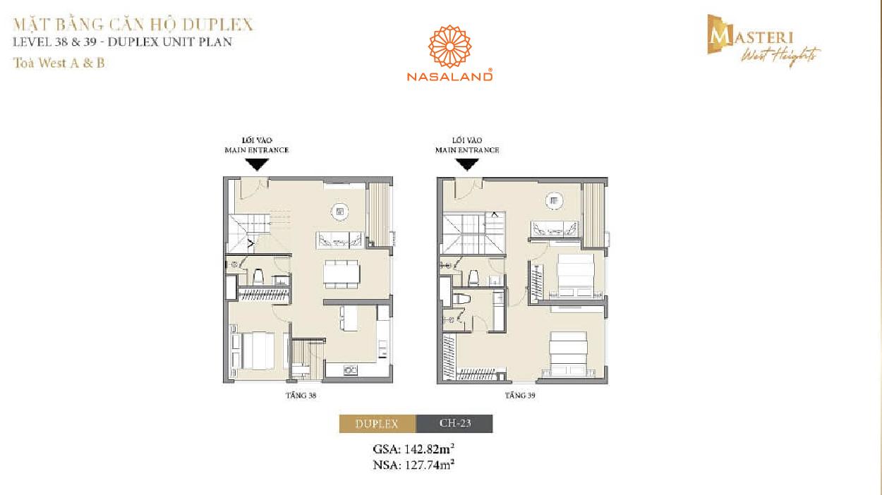 mặt bằng chi tiết căn hộ duplex masteri west heights